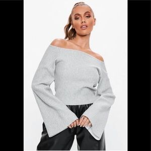 NWT MISSGUIDED SIZE 6 long sleeve grey top